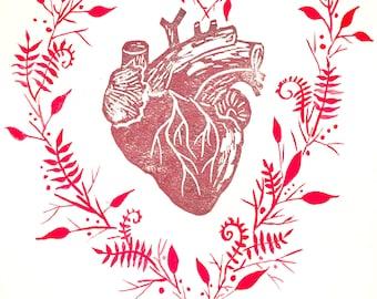 "Linoleum Block Print, Anatomical Heart, Heart, Valentines Day, Red Art, Giclee Print 8""x10"""