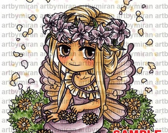 Digital Stamp - Fairy Nerida (#322), Digi Stamp, Coloring page, Printable Line art for Card and Craft Supply