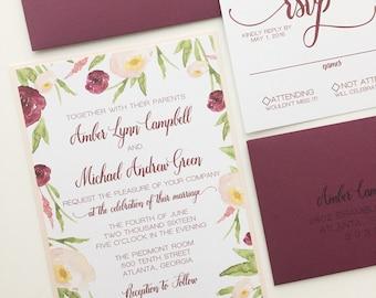 Wedding Invitation Marsala and Blush   Floral Watercolor Wedding Invitations   SAMPLE INVITE