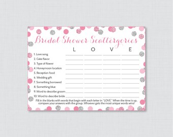 Bridal Shower Scattergories Game in Pink and Silver Glitter - Printable Pink and Gray Scattergories Game - Pink Bridal Shower Game 0001-S