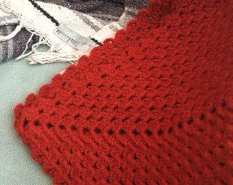 Vintage orange crochet blanket