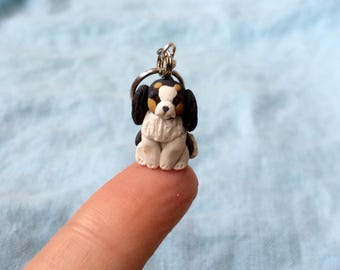 Miniature Clay Dog Knitting Tool, Crochet Tool, Polymer Clay Charm, Cavalier King Charles Spaniel, Sculpted Stitch Markers,