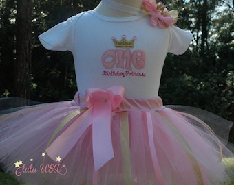 pink and gold, 1st birthday outfit,wild one birthday,onesie,birthday outfit,one year old,pink tutu,birthday tutu,Princess Birthday