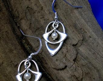 Celtic Silver Earrings, Silver Art Nouveau earrings, Handmade, Celtic Jewellery, Pearl, Amethyst, Turquoise, Tiger Eye, Black Agate, 925.