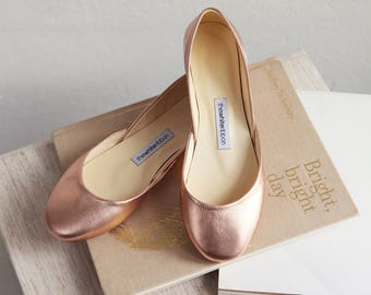 Metallic Rose Gold Ballet Flats | Bridal Wedding Shoes | Pointe Style Shoes | Classic Model | Standard Width | Rose Gold | Ready to Ship
