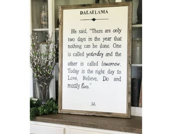 """Dalai Lama Book Page Quote 24"""" x 36"""" Wood Framed Sign Canvas Sign Canvas Sign"""