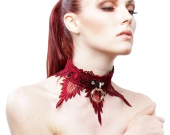 BDSM Collar Slave Bondage Mature Locking Leather Collar Jewelry DDLG Adult Play Sex Toy Fetish Submissive Collar WICKED Wine Red Lace Collar