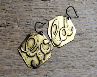 "Recycled  tin earrings   ""GOLD"""