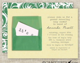 GENDER REVEAL PARTY Baby Shower Envelope Invitations Digital Printable Personalized Girl or Boy Baby Shower - 91145453
