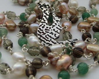 Earth Dragon Beaded Silver Necklace