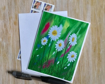 Spring  Floral Notecard  - Flower Card with Envelope - Daisy Card Handmade - Blank Card Handmade Card - Mini Art