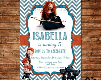 Brave Birthday Invitation, Merida Birthday, Disney Princess Invitation, Princess Birthday Invitation