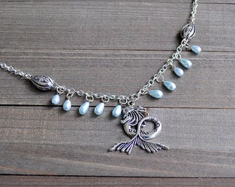 Silver Mermaid Necklace Sea Siren Water Goddess  Necklace Blue Pearl Fringe Statement Pendant