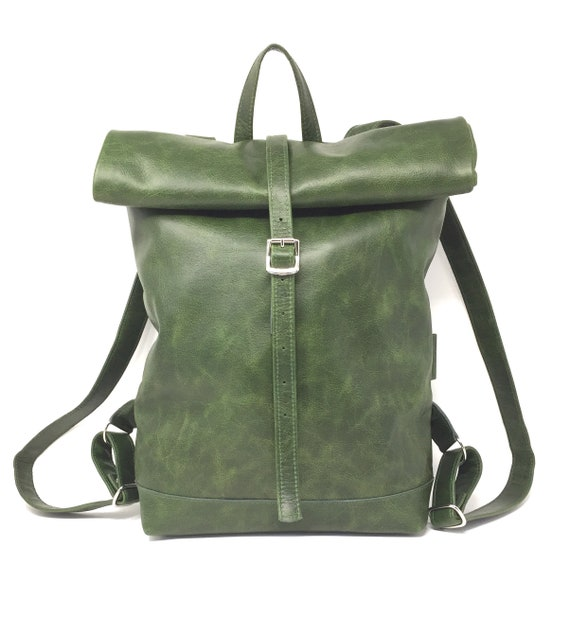 green leather backpackTote, Bag Tote Weekender, Big Leather Backpack | green Leather Backpack w\ Retro Look