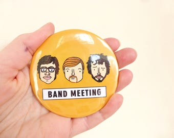 Flight of the Conchords Pocket mirror -  Band Meeting! Hand drawn illustrations on orange background. Funny gift and unique accessories.