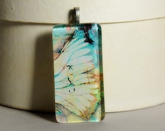 5 Dollar Deal - 5 and Under - Vintage Wings Glass Tile Pendant #1 - Butterfly Wings - Moth Wings