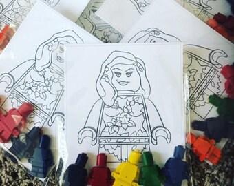 Lego Princess inspired Crayons and coloring sheets // Lego party favors // batgirl crayons // super girl birthday // homegrowncrayons // bul