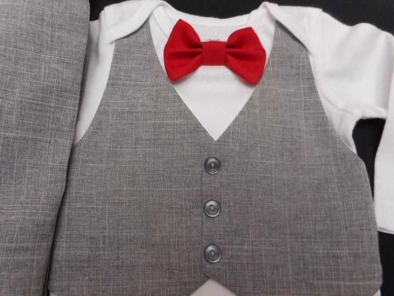 Baby Boy Suit Wedding Light Gray Vest Pants Red Satin OR