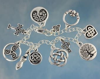 Celtic Symbols Silver Charm Bracelet - Claddagh, celtic knot, tree of life, celtic cross, heart, and goddess charms - free USA shipping