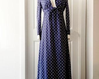 Vintage 70s polka dot navy dress/ sleeveless maxi sundress/ white bodice/ empire waist/ Bolero jacket/ summer dress/ Melissa Lane/