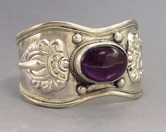 Ethnic Tribal Silver Amethyst Cuff Bracelet Statement Jewelry