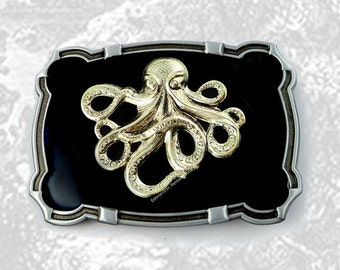 Steampunk Octopus Large Belt Buckle Inlaid in Hand Painted Black Enamel Nautical Fantasy Inspired with Color Options