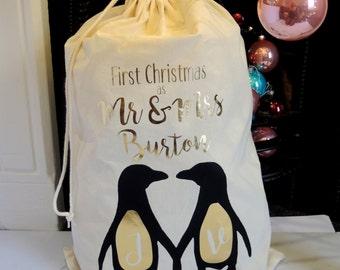First Christmas as Mr & Mrs Personalised Santa Christmas Sack