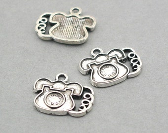 8 Telephone Charms, Dial up Phone pendant beads, Antique Silver 18X22mm CM0944S