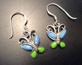Vintage Sterling Silver Signed Dangle Butterfly Earrings with Turquoise and Gaspeite, Ladies Blue and Green Butterfly Earrings