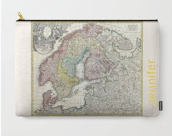 Old world map case etsy carry all pouch or laptop sleeve old map scandinavia canvas like fabric gumiabroncs Images