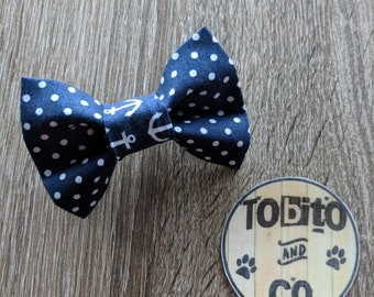 Navy blue dots and anchors// dog bow tie// made to order