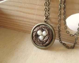 Bird Nest Necklace Pearl NestNecklace Bird Nest Jewelry Vintage Necklace Jewelry Mom Sister Necklace
