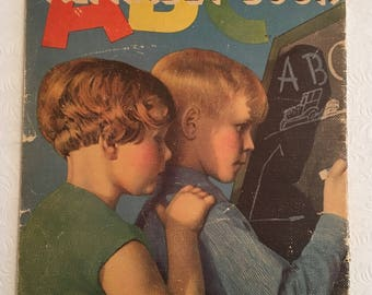 ABC Alphabet Book:  Softly Vibrant Graphics, 1935 Linen Finish Oversized Kiddie Lit, R-5