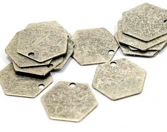 50 Pcs. Antique Silver 12 mm Geometric Hexagon Stamping Tag Findings