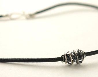 SIMPLI . Tiny Leather Choker silver on black minimalist unisex choker necklace