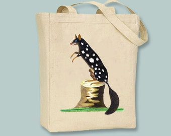 Primitive Vintage Australian Oppassum Illustration Canvas Tote  - Selection of sizes  available