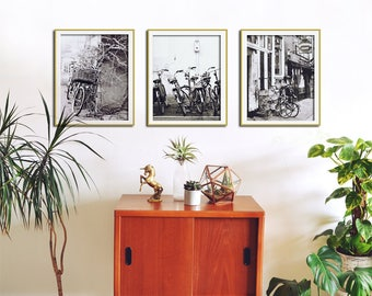 Set of 3 Black and White Wall Art, Bicycle Print Set, Bike Wall Art, Set of 3 Prints, Bicycle Wall Decor, Black White Art, Print Set of 3