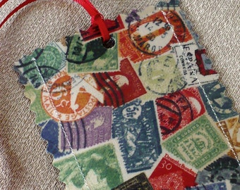 Postage Stamp Luggage Tags, red, blues, green,  travel, set of 2