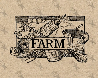 Vintage image Farm Country Black and White Retro Drawing Instant Download Digital printable clipart graphic iron on tote towels HQ 300dpi