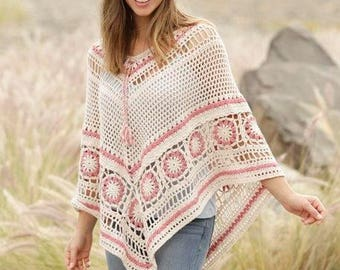 Poncho in two colors - white and pink,Poncho, Women poncho, Crochet poncho,Wool poncho, Lace poncho, Crochet scarf, Bohemian clothing