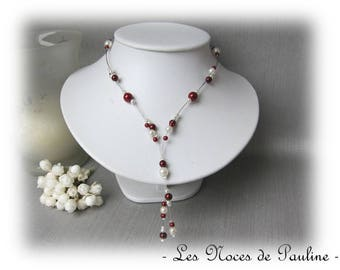 Burgundy and ivory wedding Lara pendants necklace