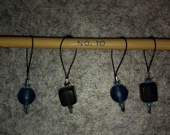 Knitting stitch markers (4 piece set, matte green )