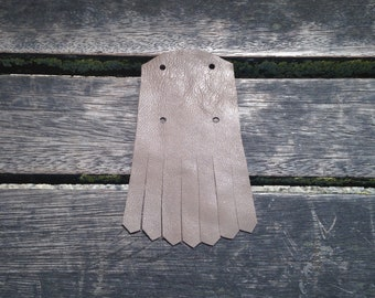 Mexican fringed leather taupe legs