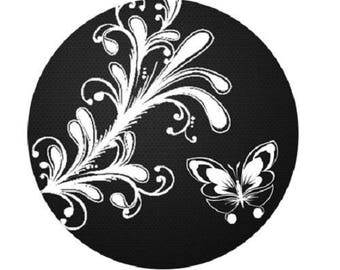 cabochon 25mm, White Butterfly on black