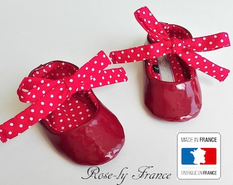 SALE (last piece). Baby booties shoes red patent leather and Red cotton with white dots