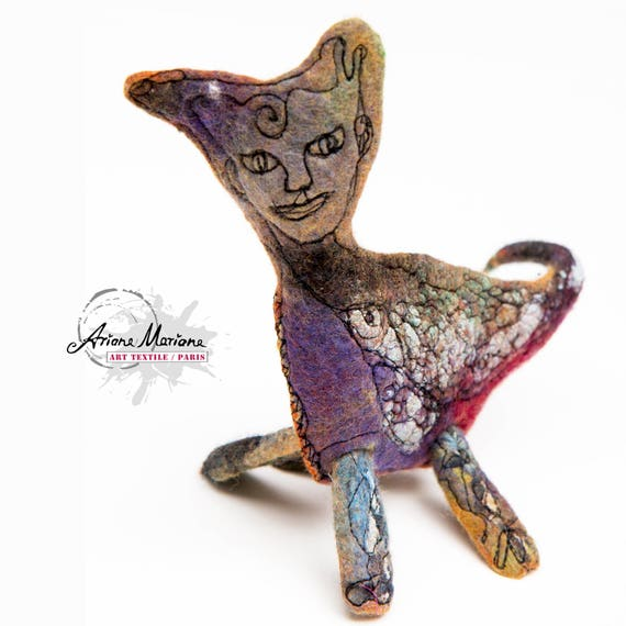 Collectible Art Mermaid Cat Sculpture - Textile Art - Fantasy Critter - Original Art