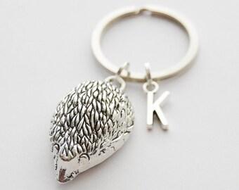 Hedgehog Keychain Hedgehog Key Ring Hedgehog Jewelry Large Hedgehog Key Ring Initial Keychain Hedgehog Lover Gift Adorable Keychain for her