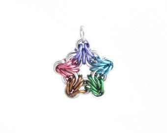 Pastel Star Pendant, Chain Maille Pendant, Multicolor Star Chain Maille