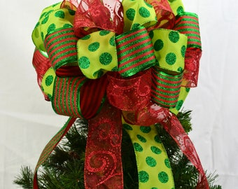 Lime Green Tree Bow - Red Christmas Tree Bow Topper - Lime Bow for Christmas Tree - Bold Present Bow - Bow for Top of Christmas Tree