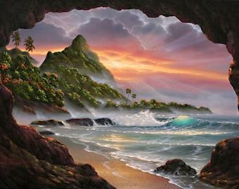 Kauai Secret Place - Canvas Giclee Reproduction - Bali Hai - Sea Cave - Bali Hai - Hanalei